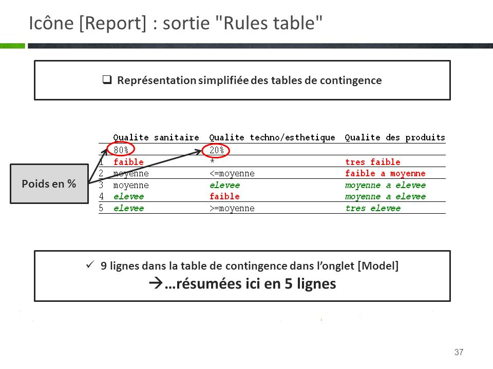 Icône [Report] : sortie Rules table